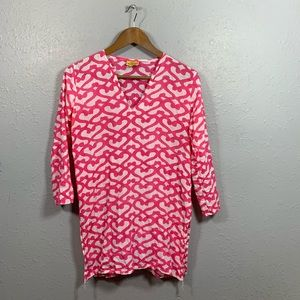 Roberta Roller Rabbit Pink Cover Up Tunic Size XS